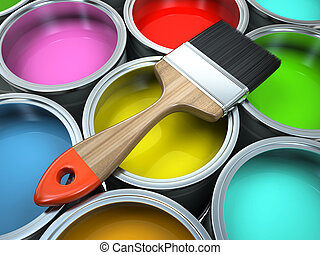 Banks of multicolored paint and brush