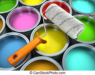 Banks of multicolored paint and roll