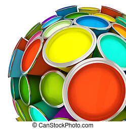 Banks of multicolored paint in sphere