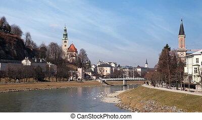 Salzburg, Austria - Banks of the Salzach River. Salzburg,...