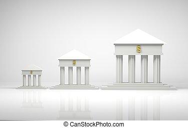 Banks - 3d render illustration of bank symbols with a gold...