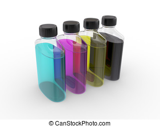 banks with  paints of CMYK colors
