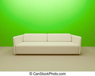 bankstel, en, groene muur