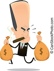 Bankster Runaway - Illustration of a funny bad banker crook...