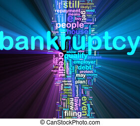 Bankuptcy wordcloud glowing - Word cloud concept...