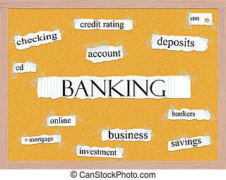 bankvirksomhed, corkboard, glose, begreb