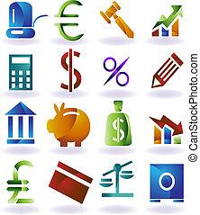 bankvirksomhed, farve, ikon, sæt