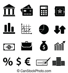bankvirksomhed, finans, ikoner branche