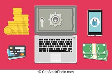 bankvirksomhed, pengeskab, internet
