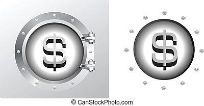 bankvirksomhed, symbol, pengeskab, dollar