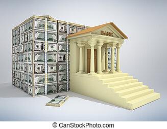 bankwesen, begriff, 3d