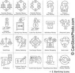 bankwesen, icons., service