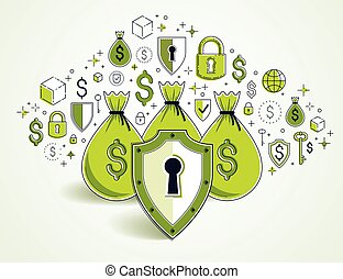 bankwesen, investitionen, schutz, deponieren, geld, idee, vektor, design., säcke, spareinlagen, kredite, finanziell, schutzschirm, geschaeftswelt, begriff, aus, sicher, versicherung