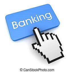 bankwesen, taste, begriff, abbildung, 3d