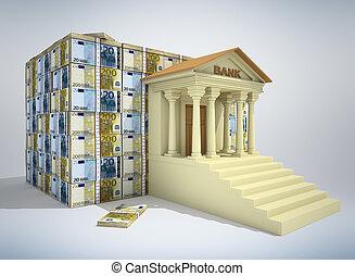 bankwezen, concept, 3d