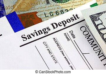 bankwezen, financiën, en, boekhouding, slip