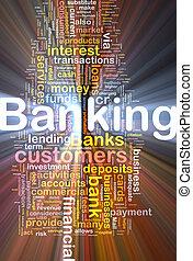 bankwezen, gloeiend, concept, achtergrond