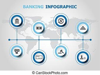 bankwezen, infographic, ontwerp, iconen