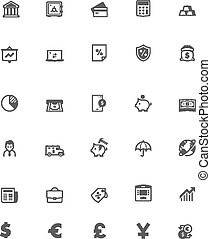 bankwezen, vector, set, pictogram
