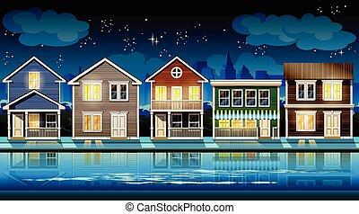 banlieue, nuit