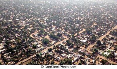 banlieues, mozambique, maputo, aérien, matola, vue