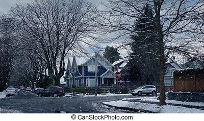 banlieues, route, jour, neigeux, hiver
