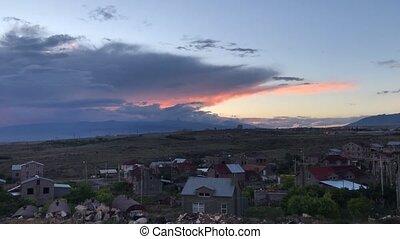 banlieues, yerevan, coucher soleil, arménie