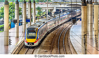 banlieusard, malaisie, train, kuala, station, lumpur