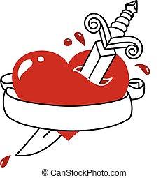 bann, estilo, tatuaje, corazón, daga