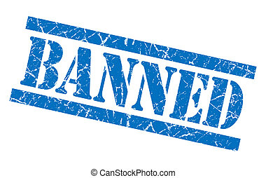 banned blue square grungy isolated rubber stamp