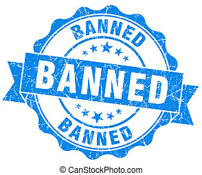 banned blue vintage isolated seal