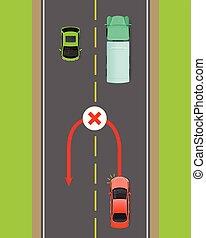 Banned Car U-Turn Flat Vector Diagram - Banned car u-turn...