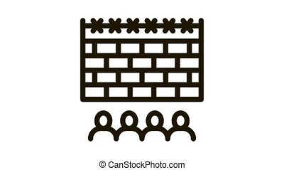 banned people behind fence Icon Animation. black banned people behind fence animated icon on white background