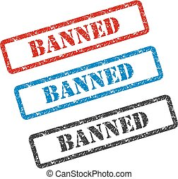 BANNED set rubber stamp isolated on background