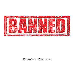 Grunge rubber stamp with word Banned inside, vector illustration