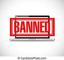 banned stamp over a laptop. illustration design