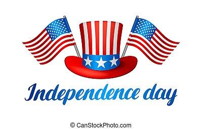 banner., ábra, amerikai, negyedik, hazafias, július, nap, szabadság