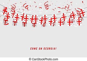 banner., ジョージア, テンプレート, 祝福, 白い背景, 旗布, こつ, 旗, 紙ふぶき