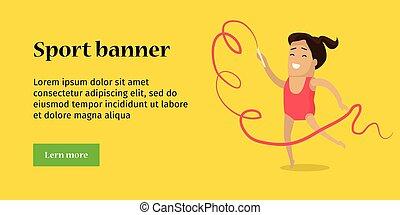 banner., スポーツ, 体操, template., 芸術的