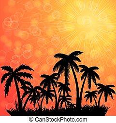 banner., トロピカル, 夏季休暇, バックグラウンド。