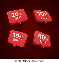 Banner 20 10 30 40 off with share discount percentage. Vector