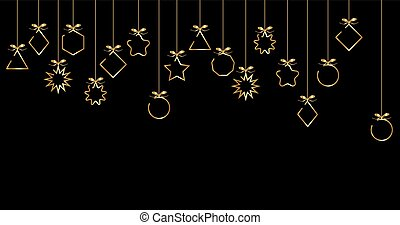 banner 2020 Happy New Year, gold Christmas Balls isolated on black background, line elements for calendar and greetings card or Christmas themed winter holiday invitations with geometric decorations