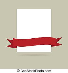banner., abbildung, merkzettel, vektor, design, papier, dein, rotes
