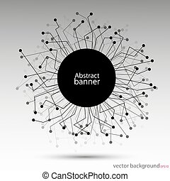 Banner abstract vector round black technology