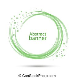 Banner abstract vector round transparent green