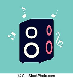 banner and baffle audio with notes music vector illustration design