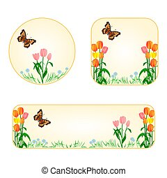Banner and buttons spring flowers tulips with butterfly vector