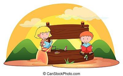 Banner and children