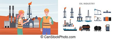 Banner and infographic set of oil extraction industry flat vector illustration.