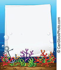 Banner and reef - Illustration of a banner with underwater...